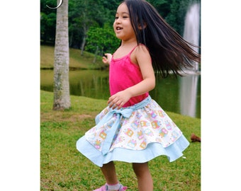 Isla Skirt for Girls 6M-12Y PDF Pattern & Instructions - twirly, multiple options, easy sew,