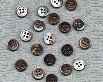 "Twenty Vintage 3/8"" Four Hole Black Lip Shell Shirt Buttons"