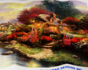 Beautiful Cottage and English Garden Unstitched Cross Stitch Canvas