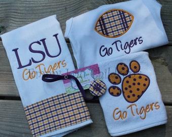 LSU Baby Gift Set - Burp Cloth, Bodysuit, Bib, and Pacifier Clip - LSU Tigers