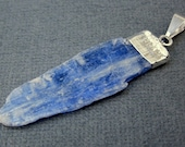 Raw Blue Kyanite Pendant Charm with Silver Electroplated Cap (KYN-02)