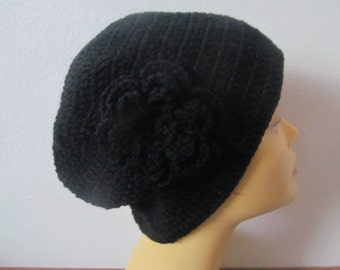 Summer Chemo Beanie Black Hat With Black Flower, Women Beanie