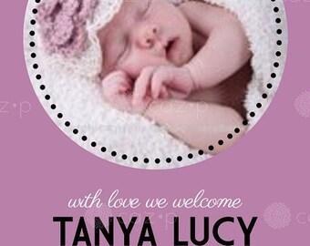 Classic Spotlight Baby Birth Announcement (Girl or Boy)