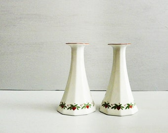 Porsgrund Hearts & Pines Candleholders, Candlestick Pair, Multisided Octavia