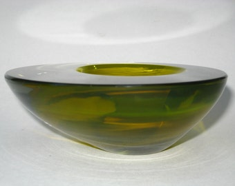 """Cenedese Murano Olive Geode Bowl w/ Label - Mid Century Modern 8"""" Asymetrical Sommerso Cased Art Glass"""