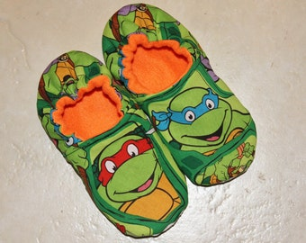 ALL SIZES - Slippers Made with Teenage Mutant Ninja Turtle Fabric