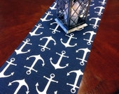 """INVENTORY CLEARANCE - 12x48"""" Table Runner - Nautical Small Anchor Table Runners - Navy and White Nautical Table Runners"""