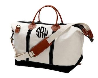 Monogram Canvas Weekender Bag - Large - Great Gift For Bridesmaids - Teacher - Sorority Sisters - Beach Bag