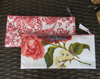 Set of 2 Zippered Oil Cloth Pouches--Paisley and Floral Cosmetic Bags--Purse Organizer--pencil pouch teacher gift