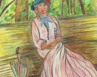 Woman seated on bench Original Watercolor Pencil Painting after Claude Monet Art Study