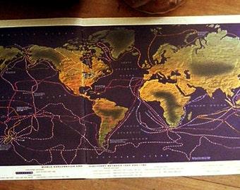 "1960s LARGE 17 1/4""  Vintage WORLD Map"
