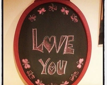 Antique Ornate Hand Painted Red Frame Chalkboard