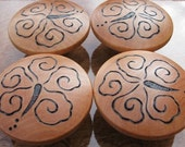 "SALE 4 Hibiscus Blossoms Cabinet Knobs 2"" Birch End Grain Pyrography Woodburning"