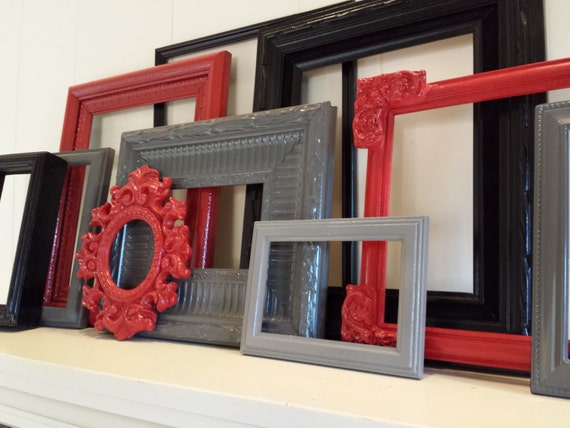 Eclectic Home Decor, Gallery Frame Set, Red, Black, Grey Frames, Vintage Frames, Painted Frames, Red Riding Hood, Upcycled