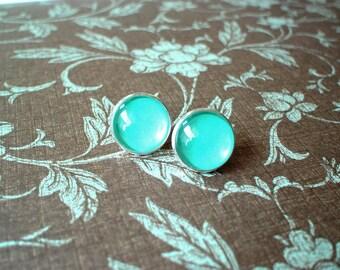 20% OFF --- Teal earring stud,Blue Green earrings,gift for her
