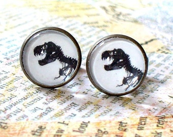 20% OFF -- 16 mm Black and White T.Rex dinosaur Fossil bone Cuff Links  ,Mens Accessories, Anchor Cuff links,Perfect Gift Idea