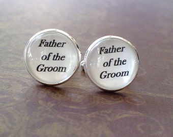 20% OFF -- 16mm Father of the Groom Cufflinks, Gifts for Dad, Wedding Cufflinks, Father,Men (White)