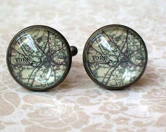20% OFF -- 16 mm Vintage look England York Map Cuff Links ,Mens Accessories,Perfect Gift Idea
