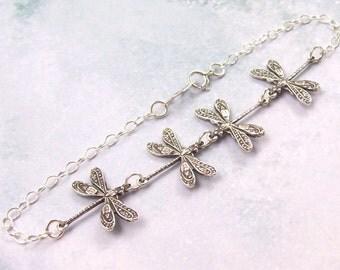 Silver Dragonfly Bracelet, Sterling Silver Bracelet, small anklet, dragon fly, summer, spring fashion, kissing dragonflies, matte