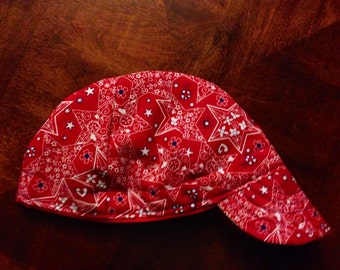 Medium Red Bandana & Star Pattern Welding Cap