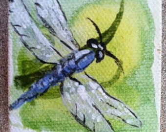 """Miniature Dragon Fly canvas painting 2"""" x 2"""" with 5"""" easel, Mini Painting, Acrylic painting, Doll house accessory"""