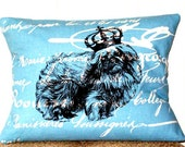 "shabby chic, feed sack, french country, pekingese graphic on blue and creme script print 12"" x 16"" pillow sham."