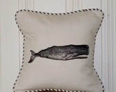 "shabby chic, feed sack, french country, whale graphic with ticking stripe welting 14"" x 14"" pillow sham."
