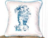 "shabby chic, feed sack, french country, vintage French Lady graphic with robin's egg blue  welting 14"" x 14"" pillow sham."