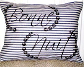 "shabby chic, feed sack, french country, navy & cream ticking stripe Bonne Nuit 12"" x 16"" pillow sham."