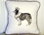 "shabby chic, feed sack, french country, vintage Collie with gingham  welting 14"" x 14"" pillow sham."