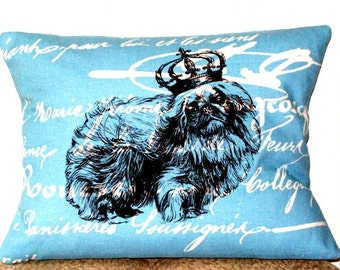"""shabby chic, feed sack, french country, pekingese graphic on blue and creme script print 12"""" x 16"""" pillow sham."""