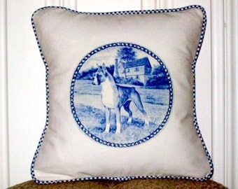 """shabby chic, feed sack, french country, Boxer graphic with gingham welting 14"""" x 14"""" pillow sham."""