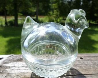 Vintage Anchor Hocking Glass Chicken Basket / Glass / Candy Dish / Ring Holder / Small / Chicken /