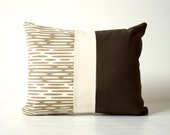 Organic Patchwork Pillow Screen Printed Original in Brown