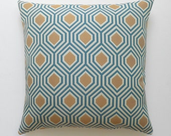 Turquoise and gold geometric decorative pillow,  throw pillow