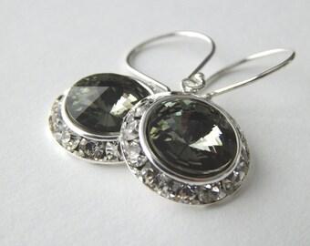 Black Diamond Earrings, Crystal Rivoli Dangle Earrings, Wedding Jewelry, Sterling Silver Drop Earrings