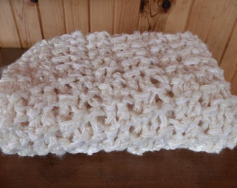 Off White Knit CUDDLE COMFORT CHEMO Blanket Afghan Hand Made Gift