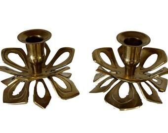 Pair of Vintage Brass Lotus Candle Holders