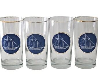 Set of 4 American Sailing Highball Glasses