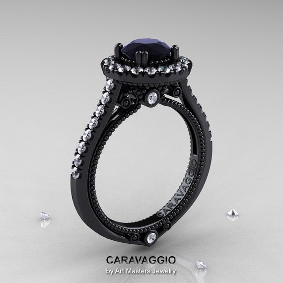 caravaggio 14k black gold 1 0 ct black moissanite by
