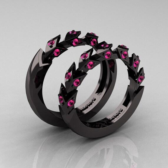 Modern Italian 14K Black Gold Pink Sapphire Wedding Band Set
