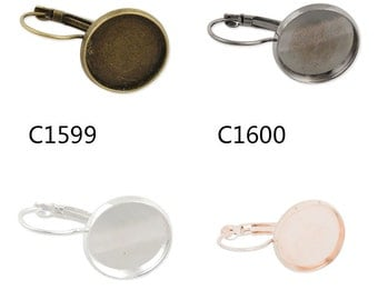 50PCS  French Lever Back Earring Blank,fit 16MM round cabochons,buttons -c1599-3147