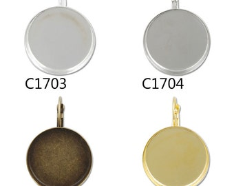 50PCS 25MM,1inch Round French Lever Back Earring Blank,brass filled,fit 25mm cabochon-C1703-c1706