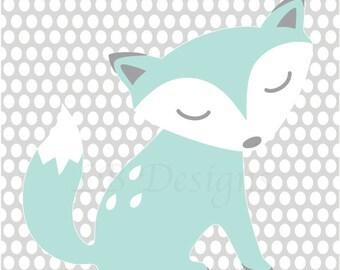 Fox Nursery Decor, Gender Neutral Nursery Decor, Aqua and Gray Nursery, Fox Nursery Art, Woodland Nursery Decor - 8x10