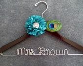 Peacock Wedding Hanger - Teal Flower Bridal Hanger - Last Name Hanger - Personalized Bride Hanger - Mrs Hanger - Peacock Feather Hanger
