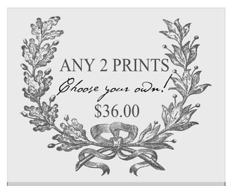 ANY TWO PRINTS choose your own two prints. Wall art. Kitchen Art