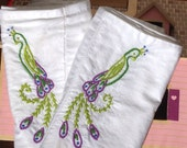 Made to Order-Hand Embroidered Peacock Pillowcases
