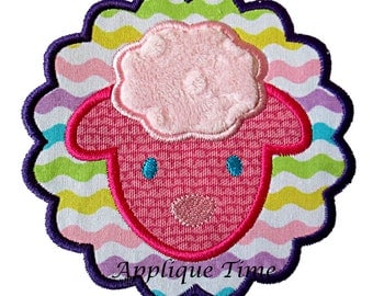 Instant Download Scalloped Lamb Face Machine Embroidery Applique Design 4x4, 5x7 and 6x10