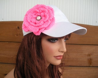 Womens Baseball Hat Cap Summer Fashion Accessories Women Sport Hat White with Hot Pink Crochet Flower by creationsbyellyn