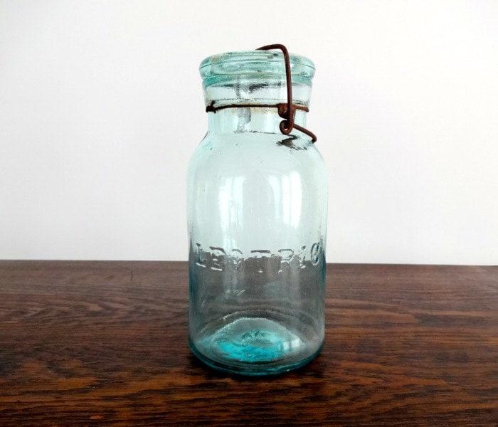 antique quart size leotric canning jar. Black Bedroom Furniture Sets. Home Design Ideas